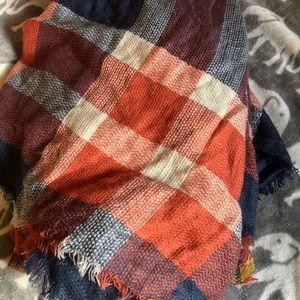 Accessories - Orange blue blanket scarf, never worn